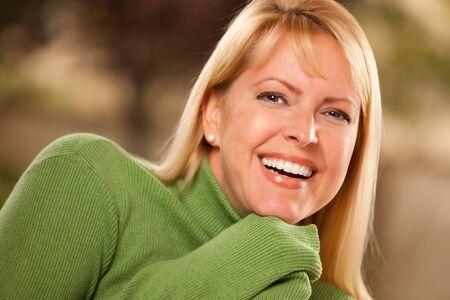 Attractive Brown Eyed Blonde Caucasian Woman Portrait.