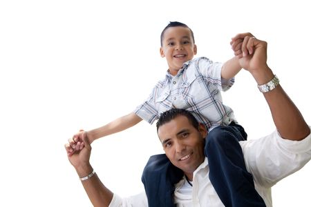 hispanic americans: Hispanic Father and Son Having Fun Isolated on a White Background.