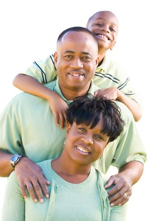 african american male: Attractive, Happy African American Family Isolated on a White Background. Stock Photo