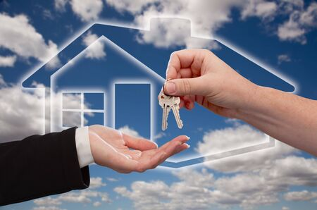 Handing Over the House Keys on Ghosted Home Icon, Clouds and Sky Stock Photo - 6846047