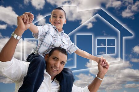 Happy Hispanic Father and Son Over Clouds, Sky and House Icon. photo