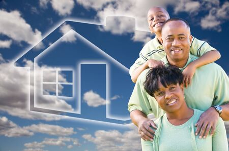 Happy African American Family Over Clouds, Sky and House Icon. photo