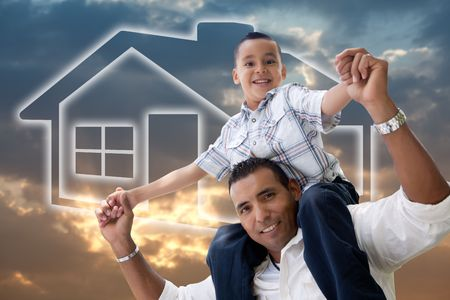 Happy Hispanic Father and Son Over Clouds, Sky and House Icon. Stok Fotoğraf