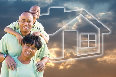 Happy African American Family Over Clouds, Sky and House Icon. Stock Photo