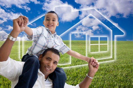 Happy Hispanic Father and Son Over Grass Field, Clouds, Sky and House Icon. photo