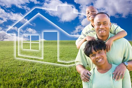 Happy African American Family Over Grass Field, Clouds, Sky and House Icon. photo