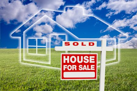 Sold For Sale Real Estate Sign Over Clouds, Grass Field, Sky and House Icon. photo