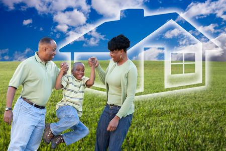 Happy African American Family Over Grass Field, Clouds, Sky and House Icon.