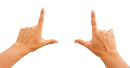 gesticulation: Female Hands Making Frame Isolated on a White Background  Stock Photo