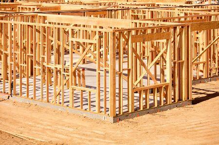 New Residential Home Construction Framing Site Just Before the Roofing Phase. Stock Photo - 6971228