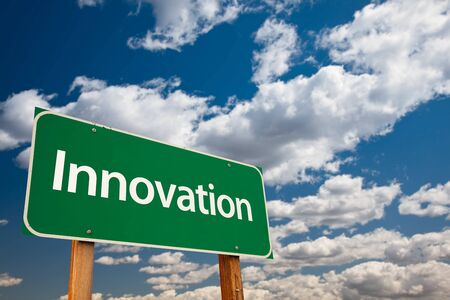 Innovation Green Road Sign with Copy Room Over The Dramatic Clouds and Sky. Stock Photo - 7029680