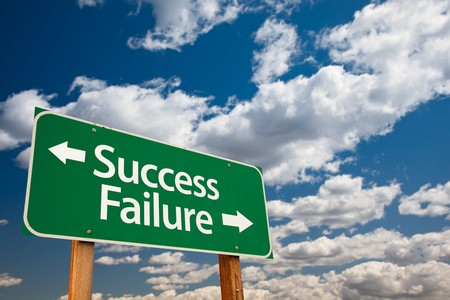 Success, Failure Green Road Sign with Copy Room Over The Dramatic Clouds and Sky. Stock Photo - 7029679