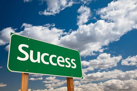 Success Green Road Sign with Copy Room Over The Dramatic Clouds and Sky. Stock Photo - 7029623