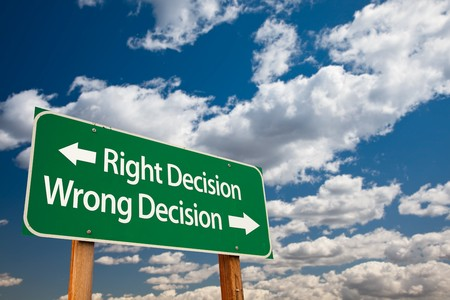 successful decisions: Right Decision, Wrong Decision Green Road Sign with Copy Room Over The Dramatic Clouds and Sky.