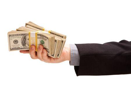 hundreds: Man Handing Over Hundreds of Dollars Isolated on a White Background. Stock Photo
