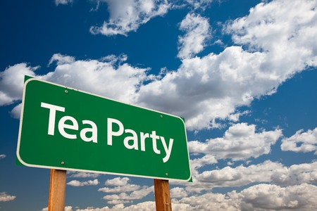outrage: Tea Party Green Road Sign with Copy Room Over The Dramatic Clouds and Sky. Stock Photo