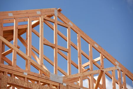 joists: Abstract of New Home Construction Site Framing.