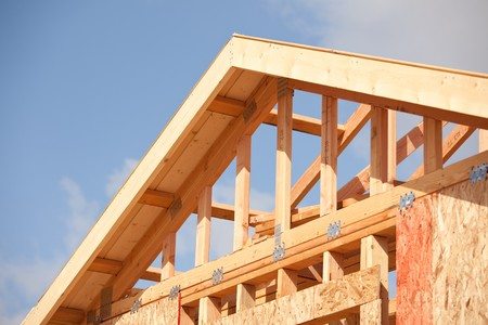 Abstract of New Home Construction Site Framing. Stock Photo - 7057547