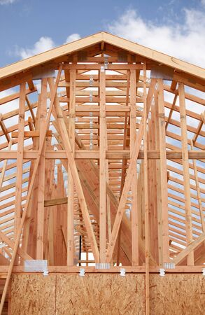 wooden joists: Abstract of New Home Construction Site Framing.