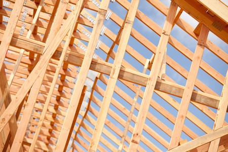 Abstract of New Home Construction Site Framing. Stock Photo - 7057598