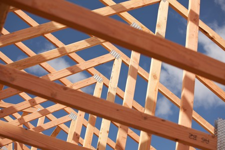 Abstract of New Home Construction Site Framing. Stock Photo - 7057549