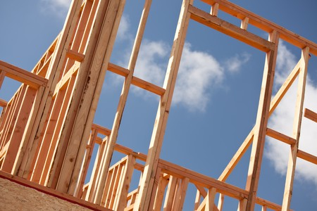 Abstract of New Home Construction Site Framing. Stock Photo - 7057550