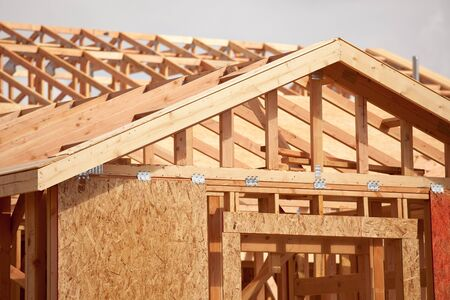 residential construction: Abstract of New Home Construction Site Framing.