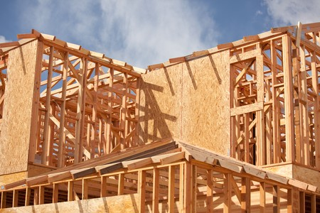 Abstract of New Home Construction Site Framing. Stock Photo - 7057602