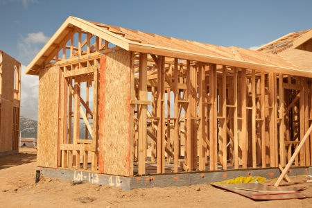 site: Abstract of New Home Construction Site Framing.
