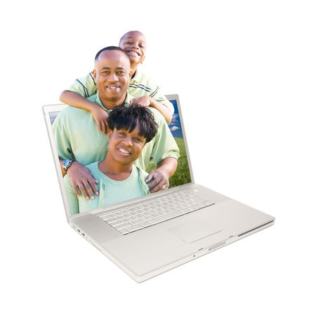 Happy African American Family in Laptop Screen Isolated on White. photo