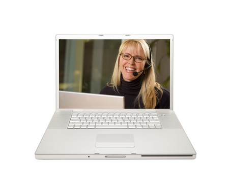 Pretty Woman with Phone Headset on Laptop Screen. Stock Photo - 7086929