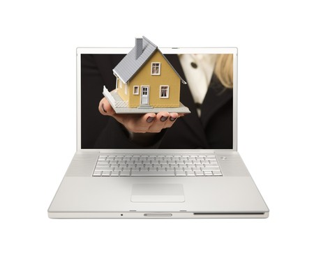 internet sale: Woman Handing House Through Laptop Screen Isolated on a White  Background.