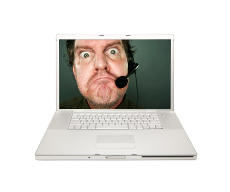 marketeer: Grumpy Customer Service Man on Laptop Screen Isolated on a White Background. Stock Photo