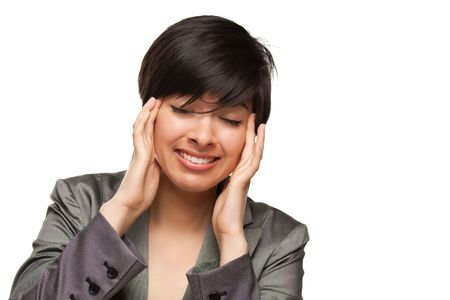 Multiethnic Young Adult Woman with Headache Isolated on a White Background.