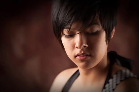 latina girl: Pretty Smiling Multiethnic Young Adult Woman Portrait with Selective Focus.