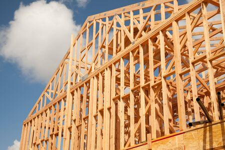 Abstract of New Home Construction Site Framing. Stock Photo - 7142005