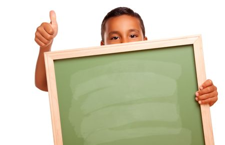 Cute Hispanic Boy Holding Blank Chalkboard and Thumbs Up Isolated on a White Background. Stock Photo - 7202035