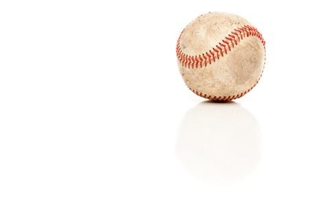reflective: Single Baseball Isolated on White Reflective Background.