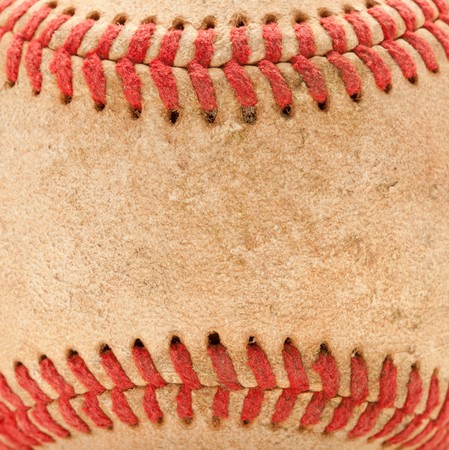 hardball: Macro Abstract Detail of Worn Leather Baseball. Stock Photo