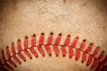 nicked: Macro Abstract detalles de agotada de cuero de b�isbol, con Vignette.