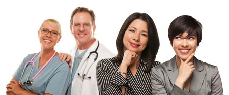 Attractive Hispanic Mother and Daughter with Doctor and Nurse Isolated on a White Background. Stock Photo