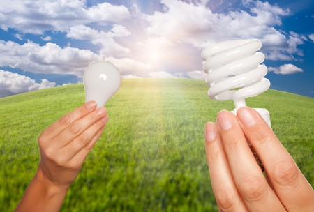 Female Hands Holding Energy Saving and Regular Light Bulbs Over Arched Horizon of Grass Field, Clouds and Sky. photo