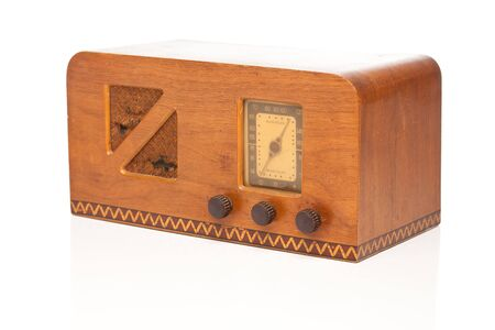 Vintage 1940s Radio Isolated on a White Background.