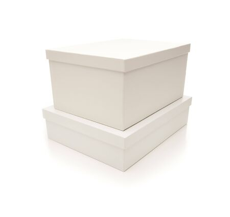 Two Stacked White Boxes with Lids Isolated on a White Background. Stock Photo - 7341991
