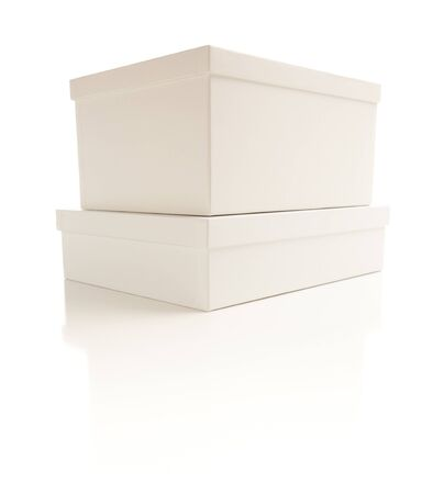 Two Stacked White Boxes with Lids Isolated on a White Background. Stock Photo - 7341982