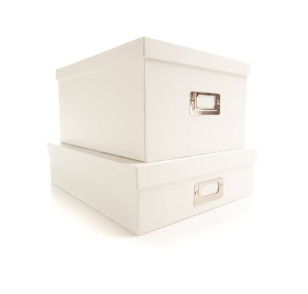 text box: Two Stacked White File Boxes with Lids Isolated on a White Background. Stock Photo