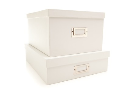 Two Stacked White File Boxes with Lids Isolated on a White Background. Banco de Imagens