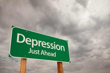 Depression Just Ahead Green Road Sign with Dramatic Storm Clouds and Sky. Stock Photo - 7374822