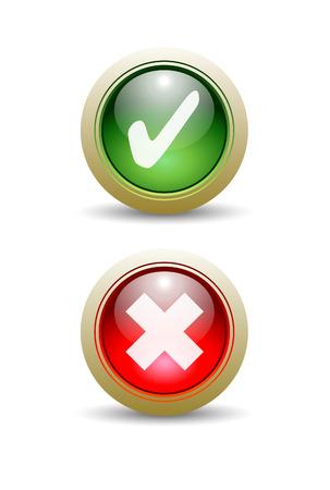 ペアのチェックと X マーク ボタン - はいまたは no)。  イラスト・ベクター素材