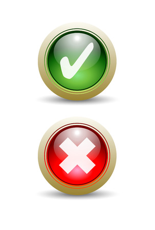 yes button: Pair of Check and X Mark Buttons - Yes or No. Illustration